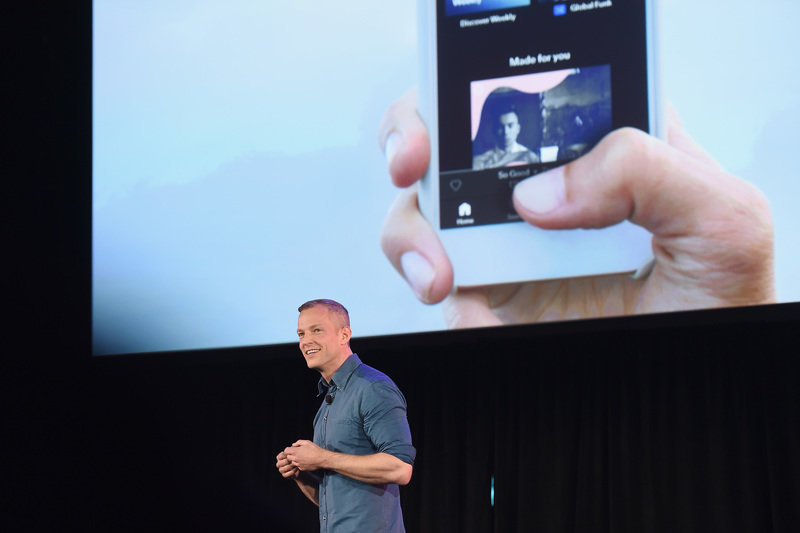 Spotify Chief R_D Officer Gustav Söderström introduces Spotify's new ad-supported mobile version at a news conference in New York(1).JPG