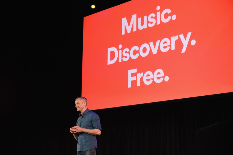 Spotify Chief R_D Officer Gustav Söderström introduces Spotify's new ad-supported mobile version at a news conference in New York(2).JPG