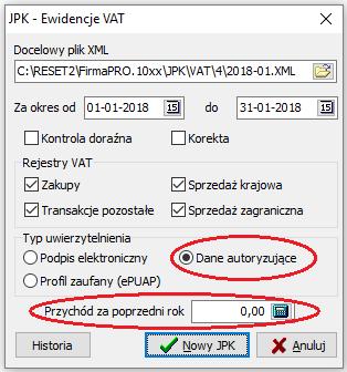 Podpis deklaracji JPK-VAT przychodem