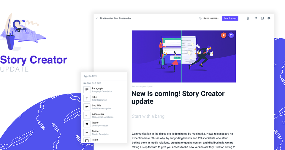 Main view of the new Story Creator
