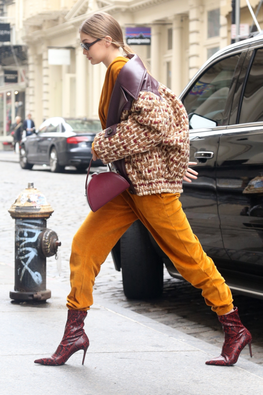 Gigi Hadid wears MANGO Snake-effect ankle boot - Rights from 11092018 PR+SM WW.png