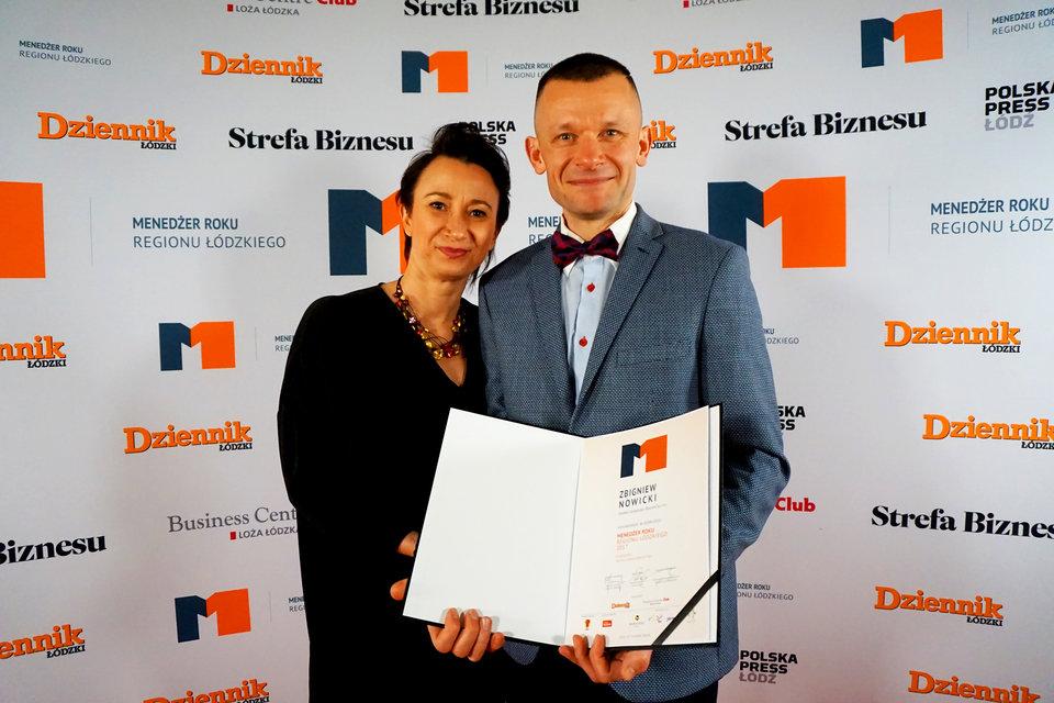Agnieszka i Zbigniew Nowiccy na gali konkursu Menedżer Roku 2017 Regionu Łódzkiego