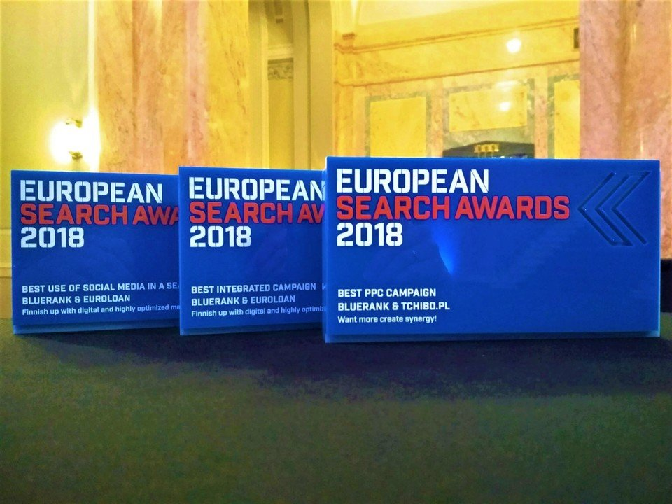 Three European Search Awards statuettes