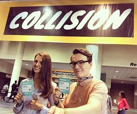 Paulina Wiesiołek - PR Manager edrone i Rahim Blak - CMO edrone podczas targów Collision Conference w Nowym Orleanie - maj 2017.