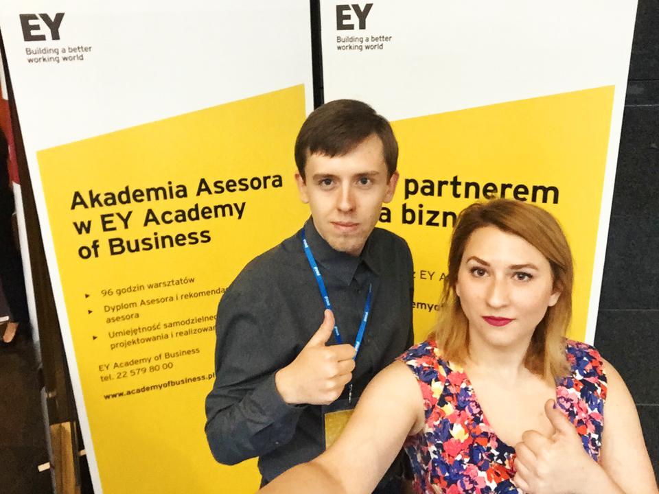 Marcin Marcinkowski - Specjalista HR i Gabriela Silarow - Strategy Manager click community podczas Employer Branding Management Summit 2017 w Warszawie.