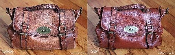 Skórzana torebka damska poddana renowacji w domowych warunkach. <br>Źródło: www.antywieszak.pl