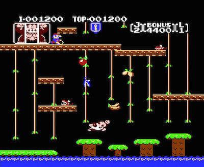 """Rzut ekranu z gry """"Donkey Kong Jr."""""""