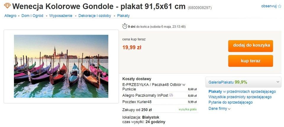 Plakat Wenecja kolorowe gondole.jpg