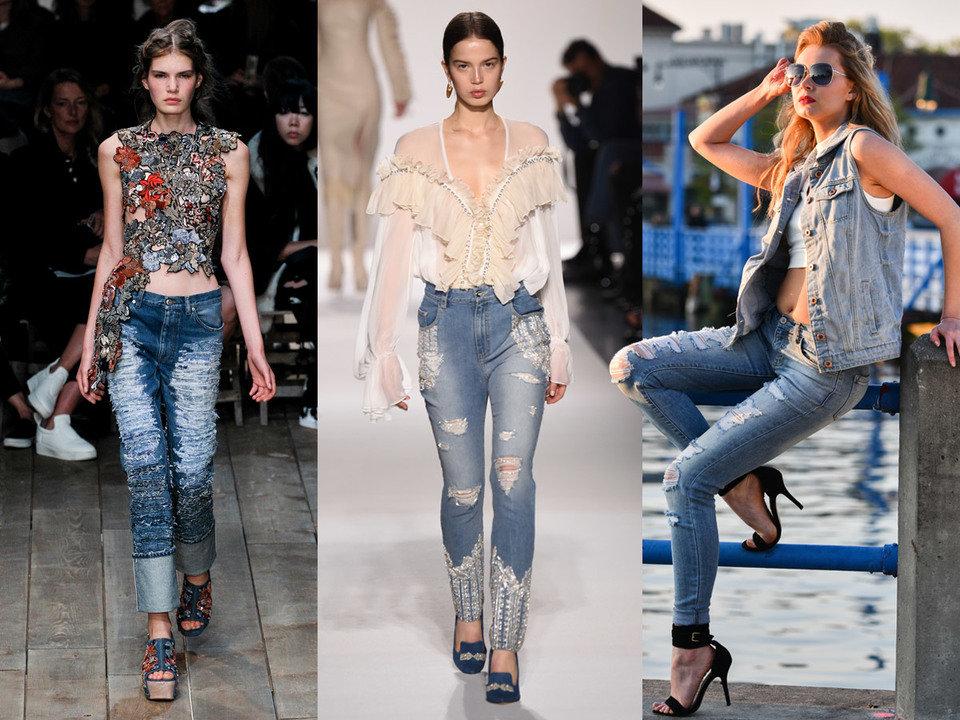 Punkowe rozdarcia w spodniach dżinsowych nadają stylizacji wyjątkowy charakter.