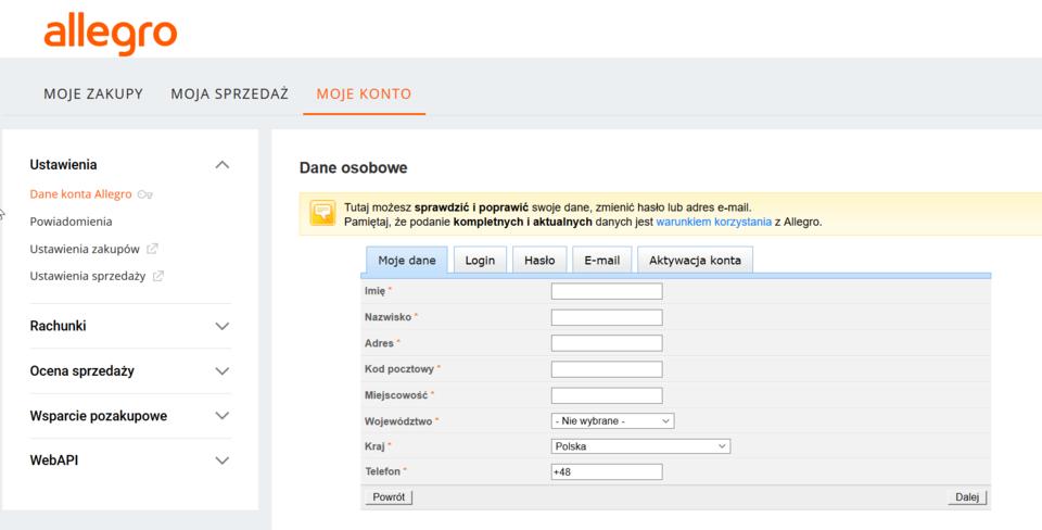 Uzupełnienie wszystkich powyższych danych (dane, login, hasło, e-mail) umożliwia sfinalizowanie całego procesu oraz pełną aktywację konta.