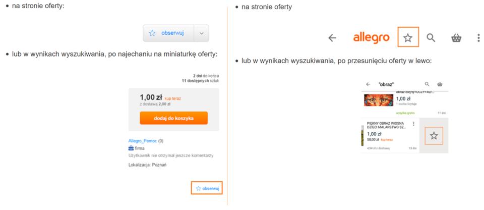 Wybrane oferty możemy dodać do zakładki Obserwowane Oferty, korzystając z różnych urządzeń. Z lewej – przeglądarka internetowa, klikamy w ikonę Obserwuj. W aplikacji mobilnej (z prawej) klikamy w gwiazdkę.