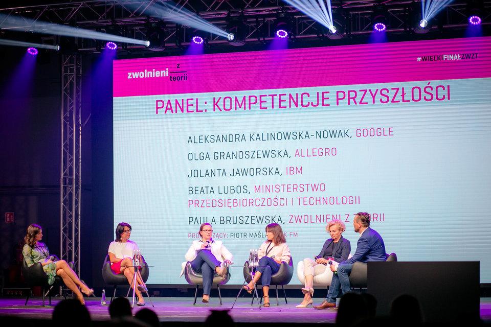 Pierwszą okazją do spotkania z uczestnikami był panel z Olgą Granoszewską (druga od lewej), która odpowiada w Allegro za rozwój pracowników i szkolenia.