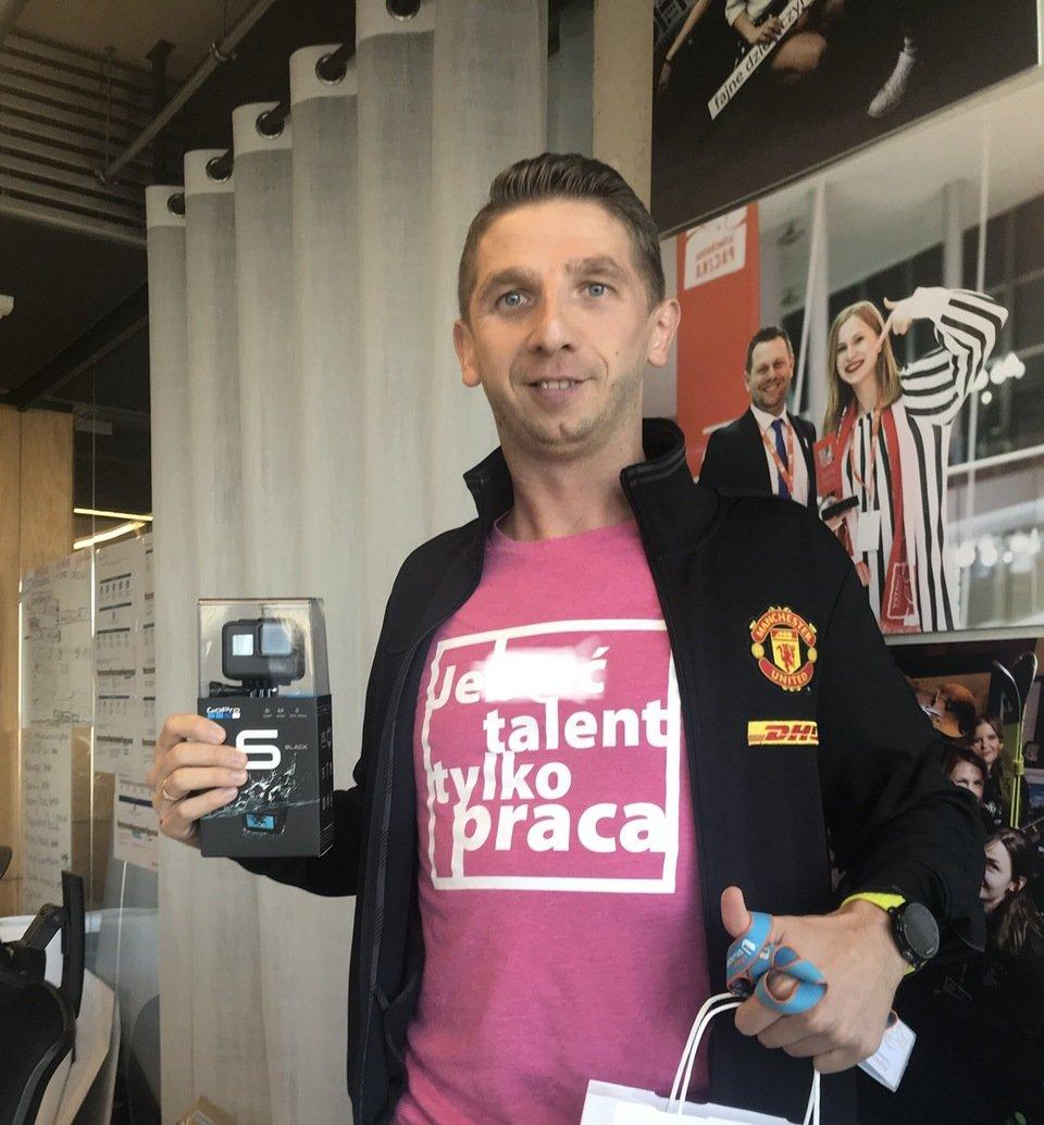 Za trzecie miejsce Adam Tomczyk z Poznania otrzymał kamerę Go Pro Hero 6.