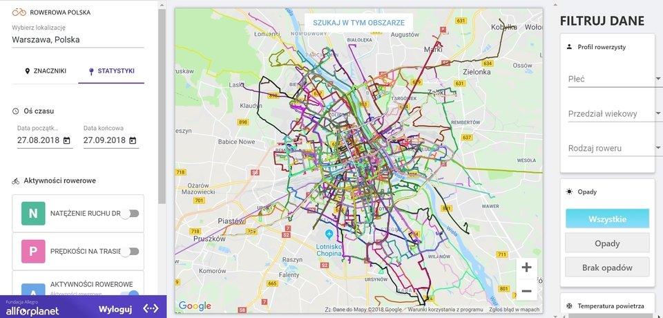 Dane ze wszystkich aplikacji są zbierane i tworzą rowerową mapę Polski, którą można śledzić na www.rowerowapolska.pl.