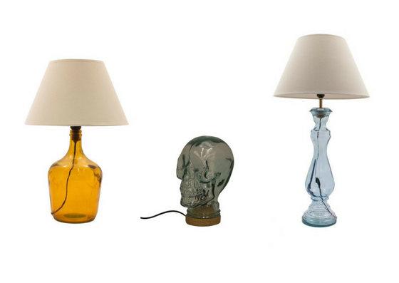 Nietuzinkowe lampy ze szkła pochodzącego z recyklingu
