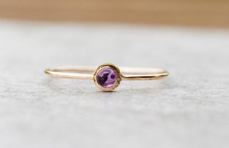 Złoty pierścionek z ametystem - Arpelc, DaWanda.pl, 460 zł
