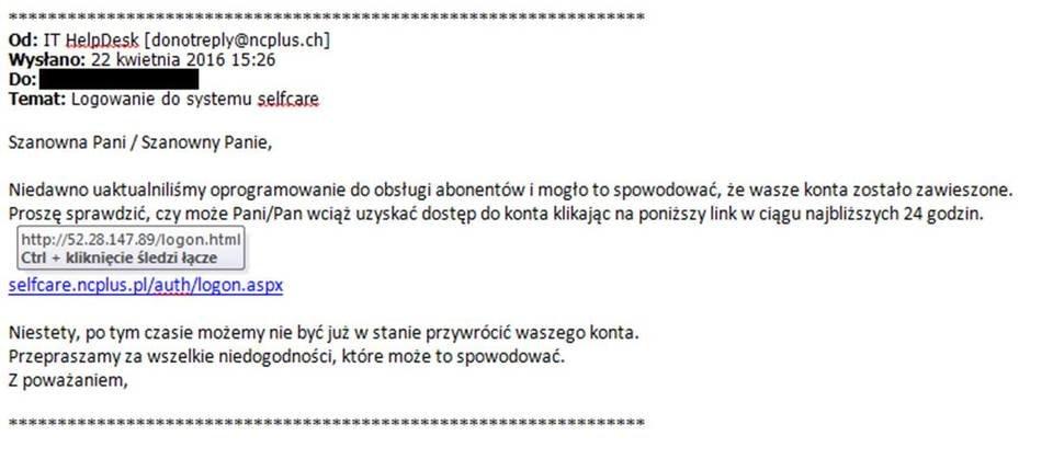 Przykład phishingowego maila od nadawcy podszywającego się pod platformę nc+