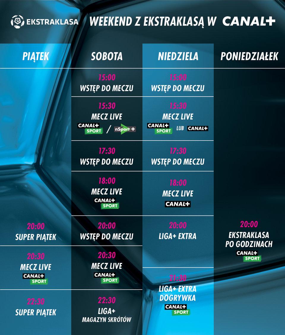 Plan transmisji meczów i programów w sezeonie<br>