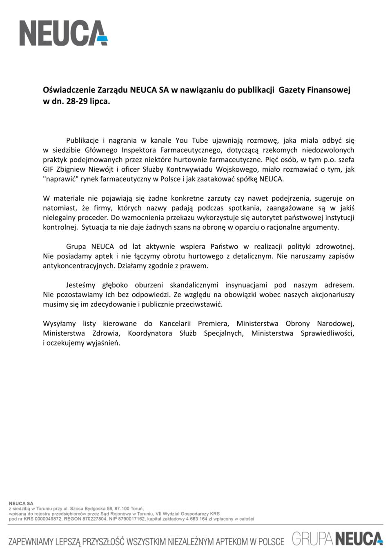 Oświadczenie Zarządu Grupy NEUCA<br>