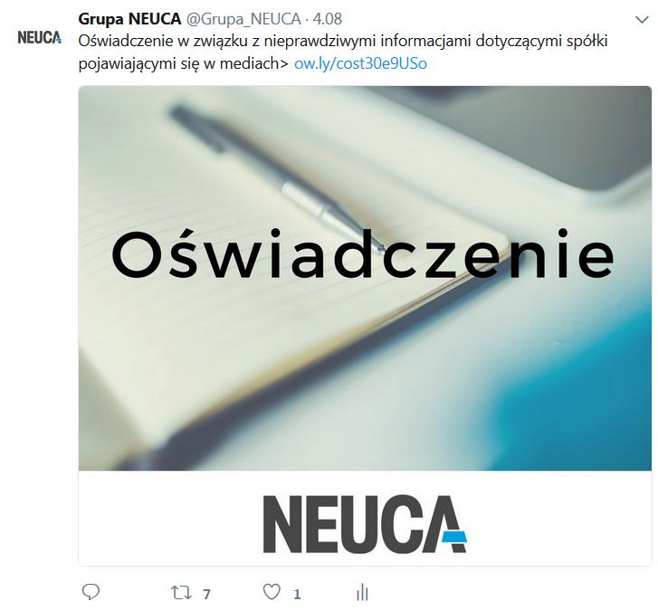 Oświadczenie Grupy NEUCA<br>