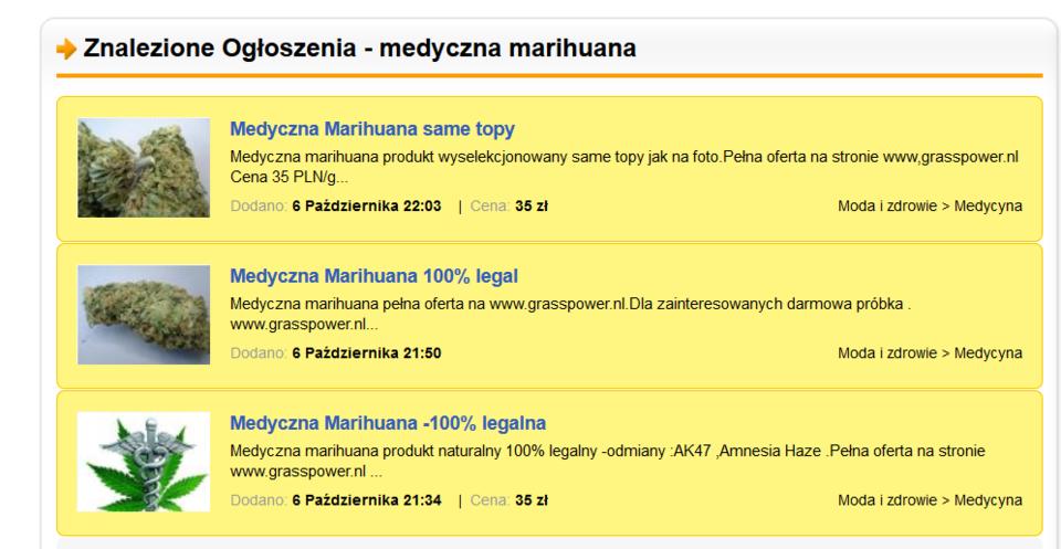 Oferty sprzedaży medycznej marihuany <br>