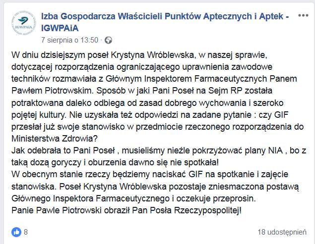 Post z profilu IGWPAiA na FB
