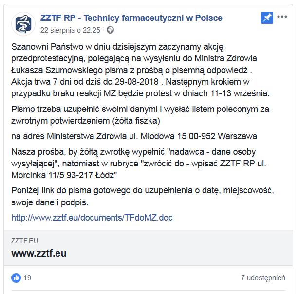 Post na profilu FB ZZTF RP<br>