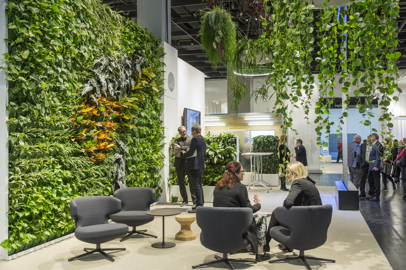 The green wall made of raw plants presented at the 2016 ORGATEC