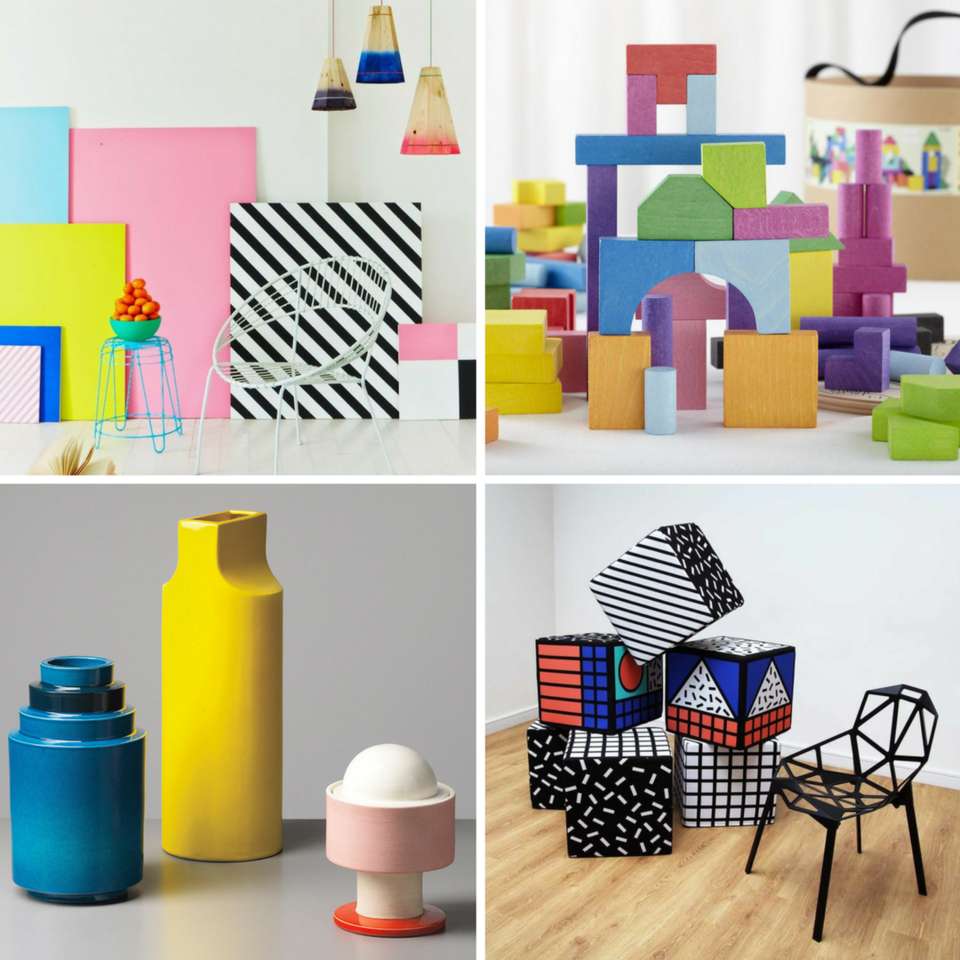 Charlotte Love pattern designs | The Land of Nod colorful blocks | Vases by Ettore Sottsass | Cubes by Camille Walala for Aria