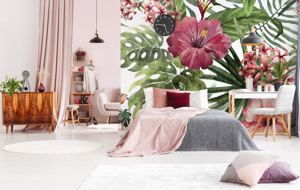 Tropical flowers in the bedroom