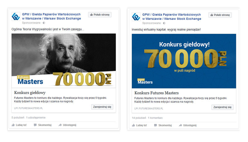 Examples of the facebook ads. We have used two visual lines to promote the contest, based on historical pictures and original contest graphics.