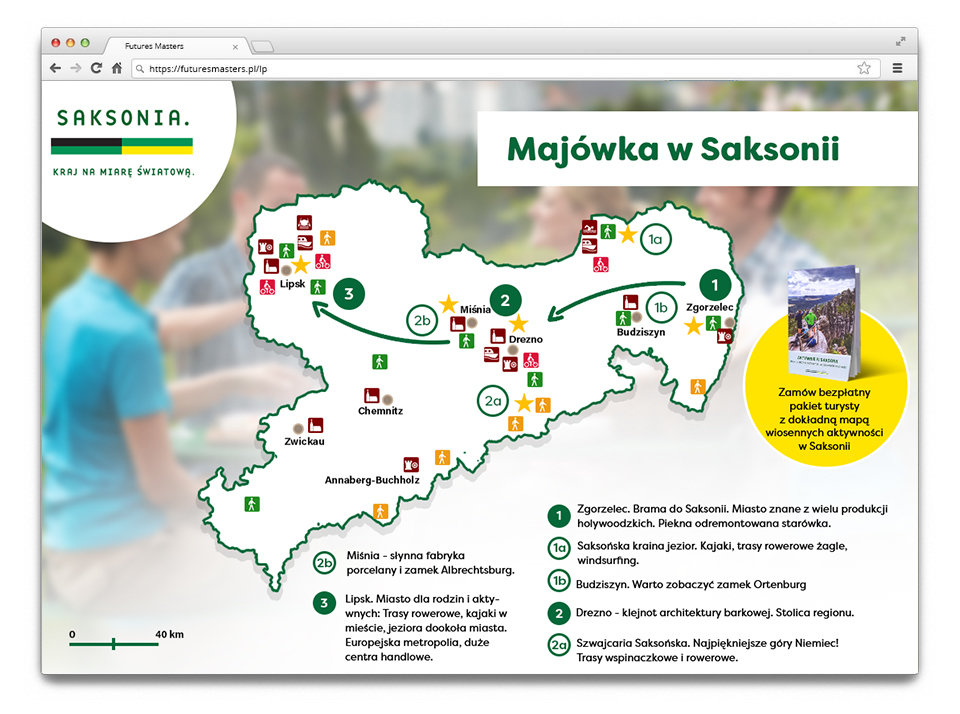 Simplified map with the ideas for the trip to Saxony. The real map -  printed version - with best walking and cycling routes was included in th package.