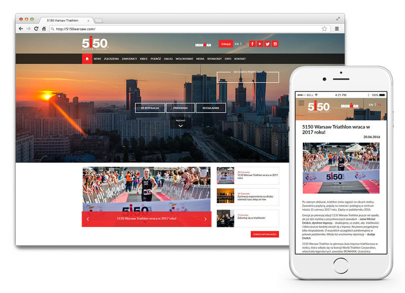 Main website of 5150 Warsaw Triathlon and mobile version of the site.