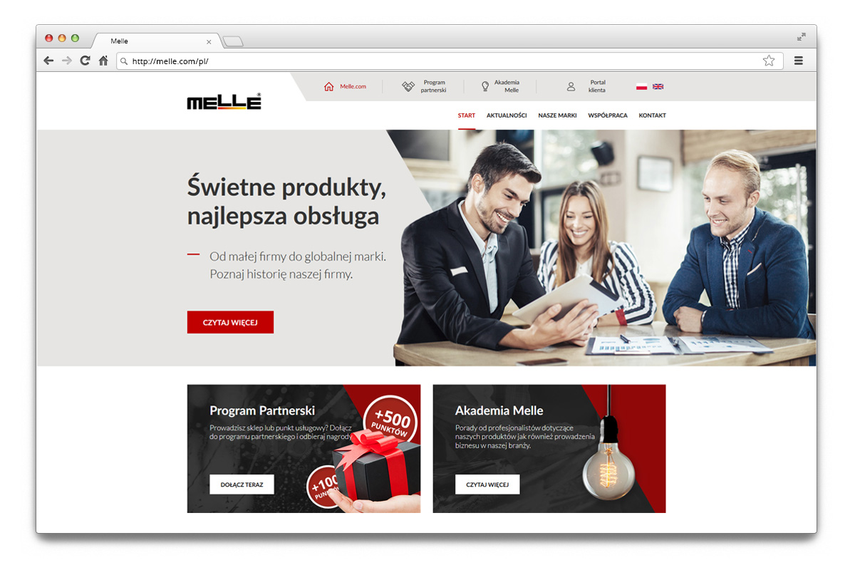 Main page of Melle's new website.