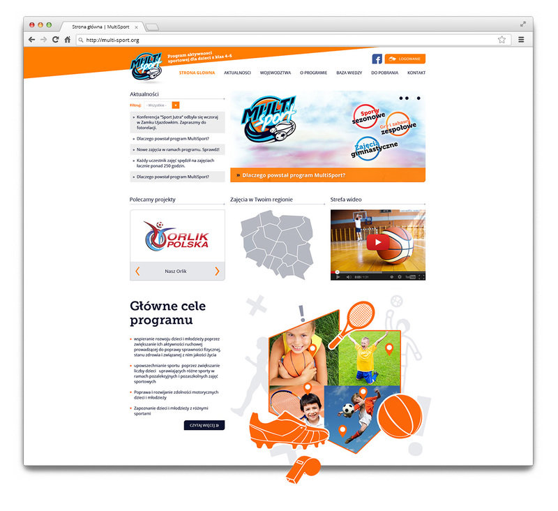Main page of the Multi-Sport website.