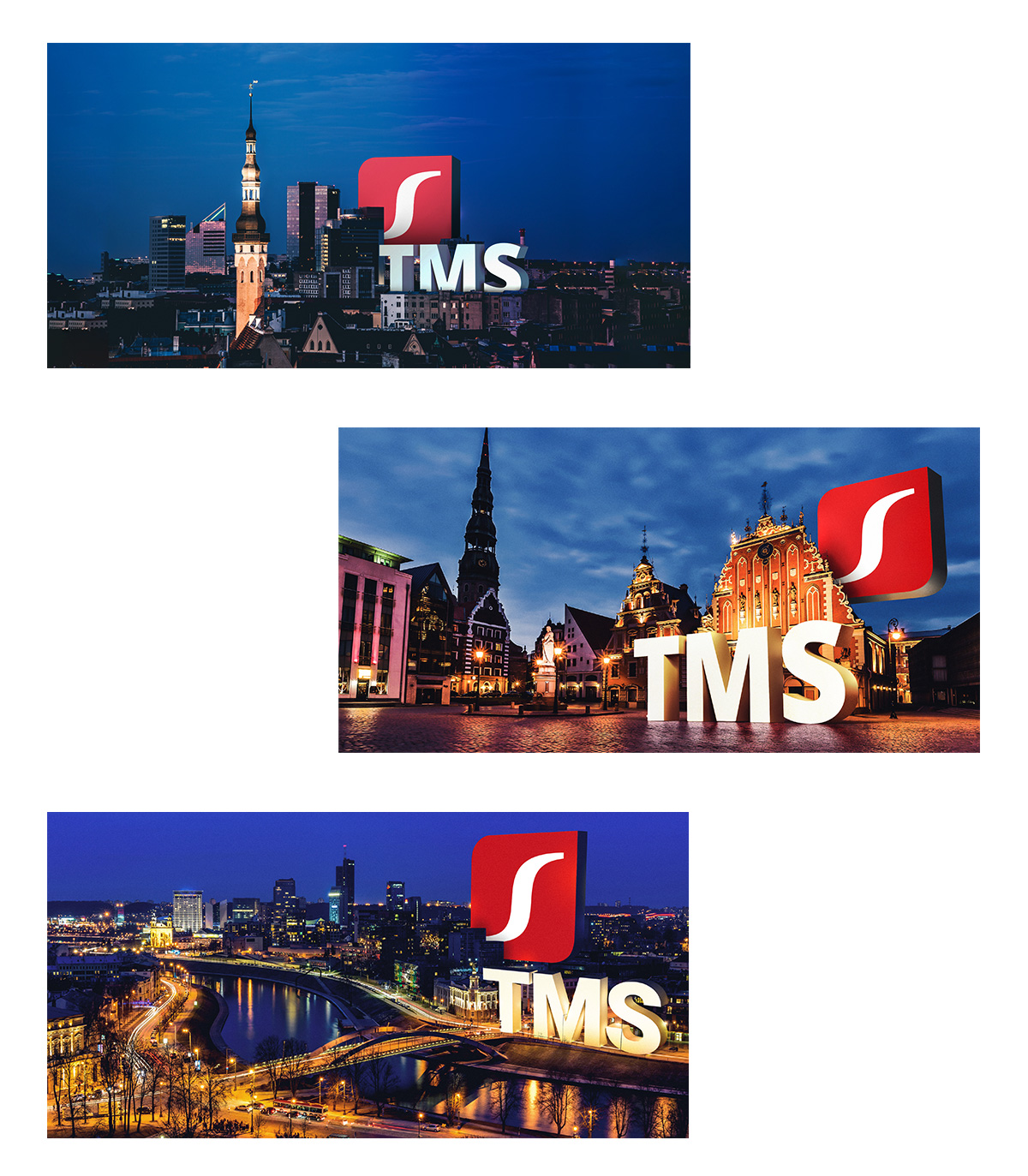 Dedicated key visuals help promote the TMS services on the local markets.