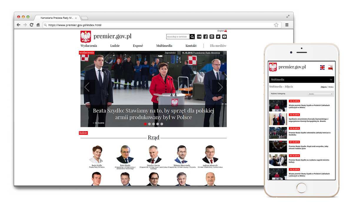 Main page of the polish Prime Minister portal and responsive mobile version of the site.