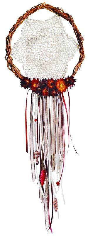 Traumfänger mit Häkelspitze, Bändern und echten Blüten_Bummelwiese.jpg