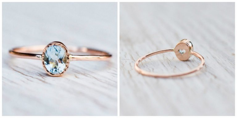 Rose gold aquamarine ring by Arpelc, 185.00 €