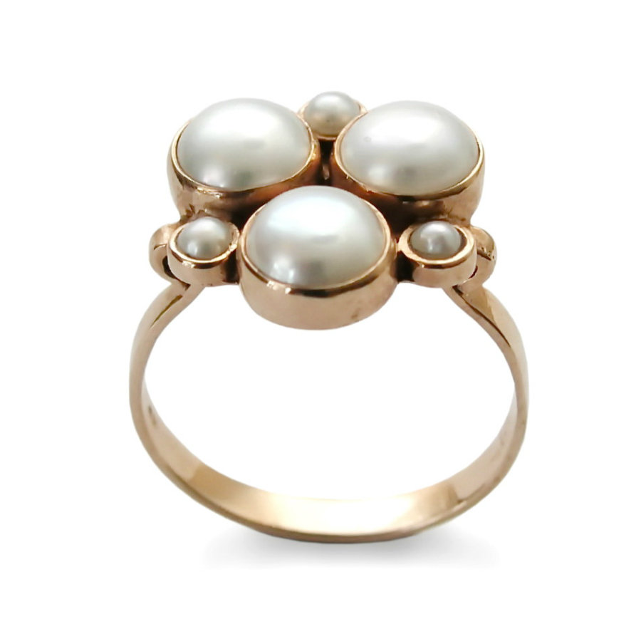 Multistone Pearls Traditional Rose Gold Ring by ArtisanEffect, 435€