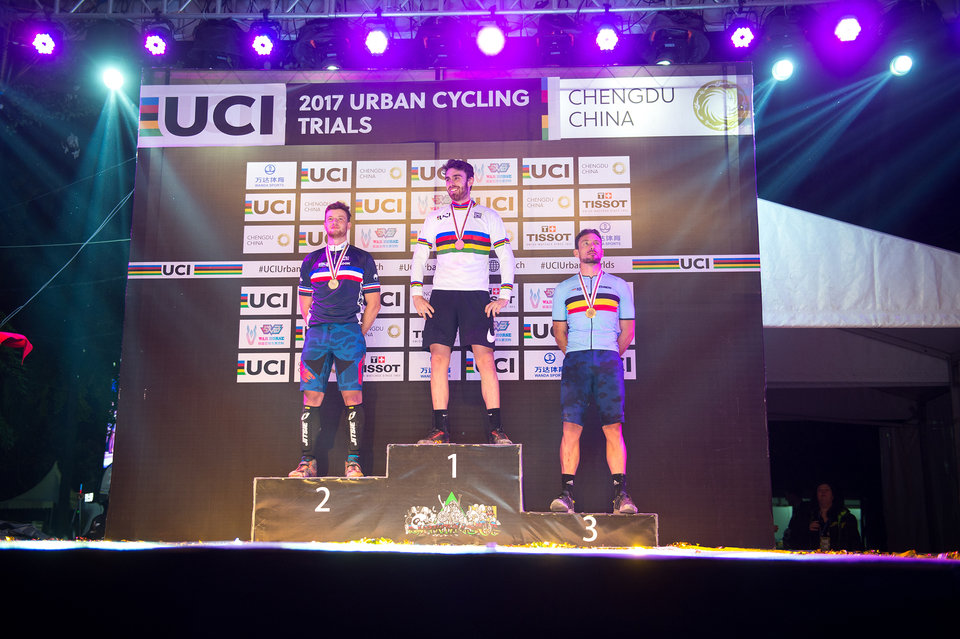 From left to right: Nicolas Vallée, Jack Carthy and Kenny Belaey - UCI Urban Cycling Trials World Championship