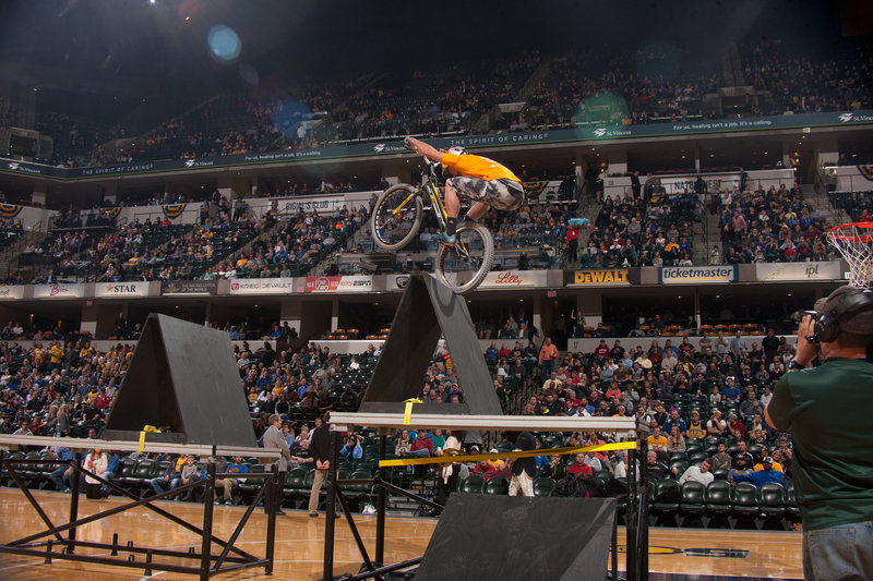 Kenny Belaey performing at Indiana Pacers halftime show. Photo: 'Pacers'