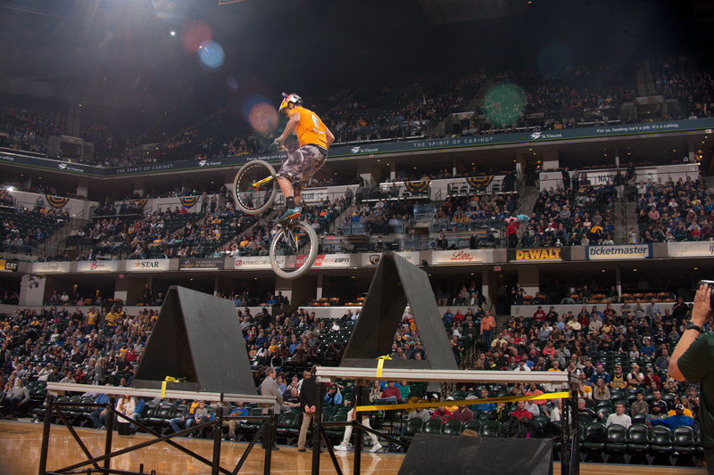 Belaey trialbike jump at Bankers Life Fieldhouse. Photo: 'Pacers'