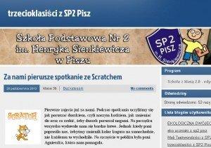 Zrzut z ekranu z bloga SP nr 2 w Piszu.