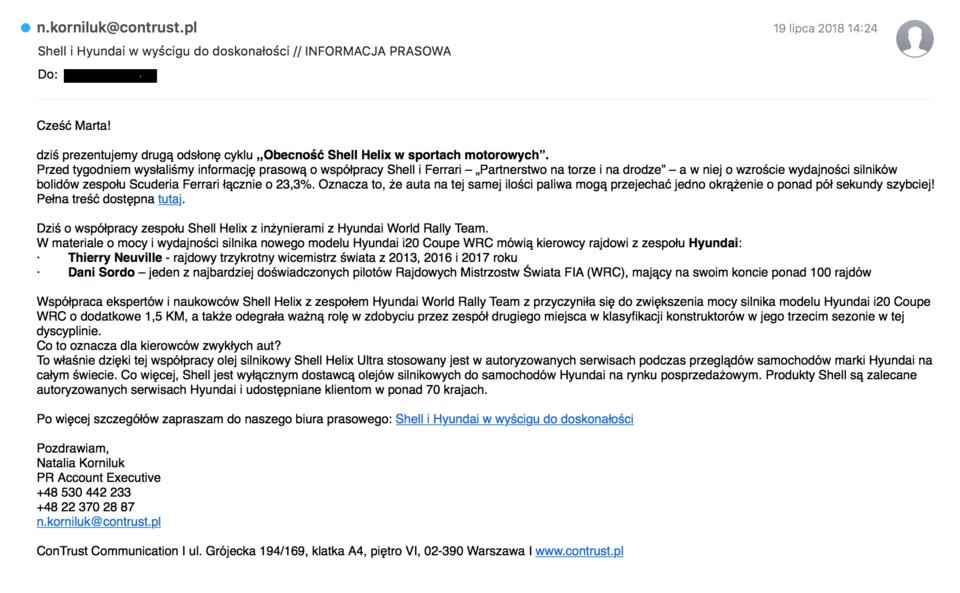 Przykładowa wiadomość ze spersonalizowanym powitaniem i linkiem do story opublikowanego na Brand Journalu ConTrust Communications