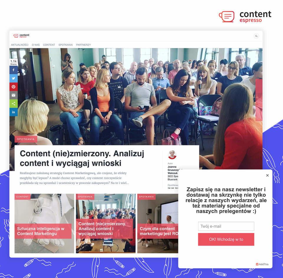 Brand Journal Content Espresso wraz z formularzem AddThis do zbierania kontaktów zintegrowanym z Prowly