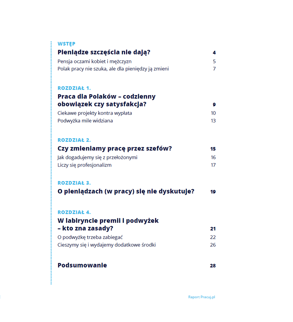 Spis treści raportu: <em>Pensja, zadania, szef - czyli co uszczęśliwia Polaków w pracy?</em><br><br><b>Raport dostępny jest w załączniku.</b>