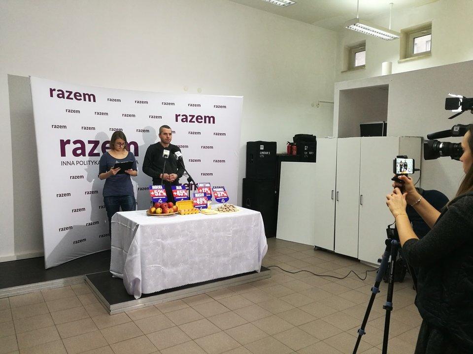 Justyna Samolińska i Maciej Konieczny podczas konferencji o wzroście cen żywności