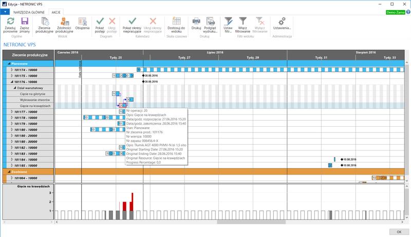 widok zleceń produkcyjnych w tooltip