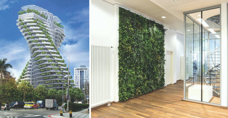 fot. lewa: Taiwan smog-twisting tower proj. Vincent Callebaut / fot. prawa: pflanzenwand.stylegreen.de